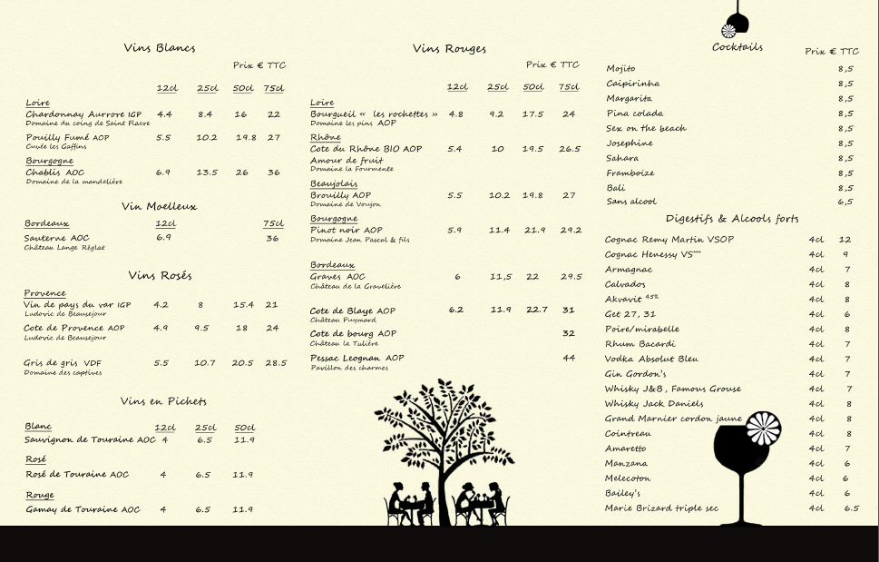Carte des boissons interieure